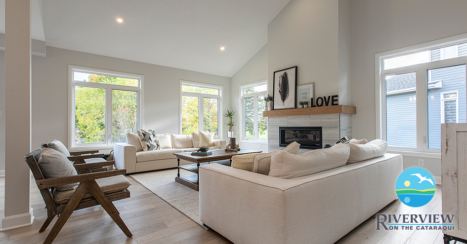 A living room from a model home in the Riverview neighbourhood.