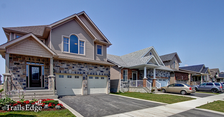 The exteriors of homes in the Trails Edge neighbourhood.