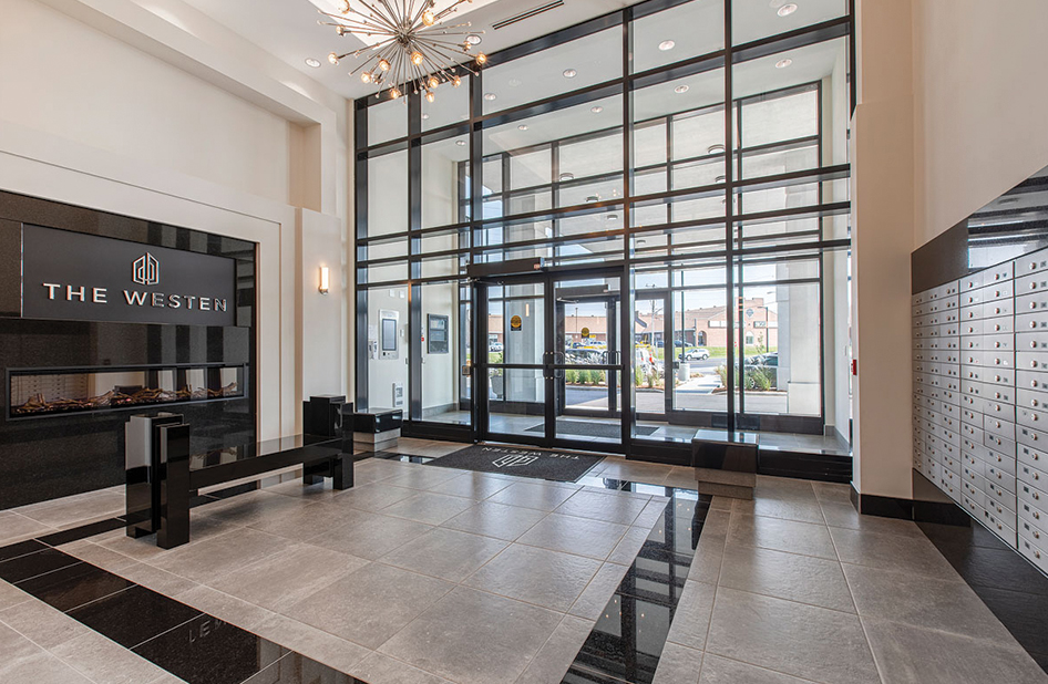 A modern lobby with a geometric black-line design.