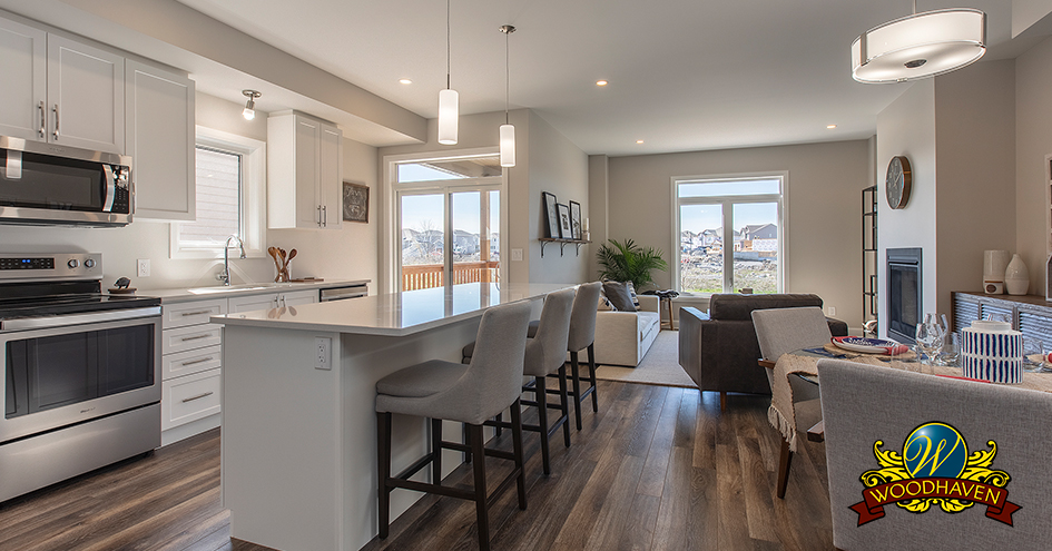 An open-concept living space in a home in the Woodhaven neighbourhood.