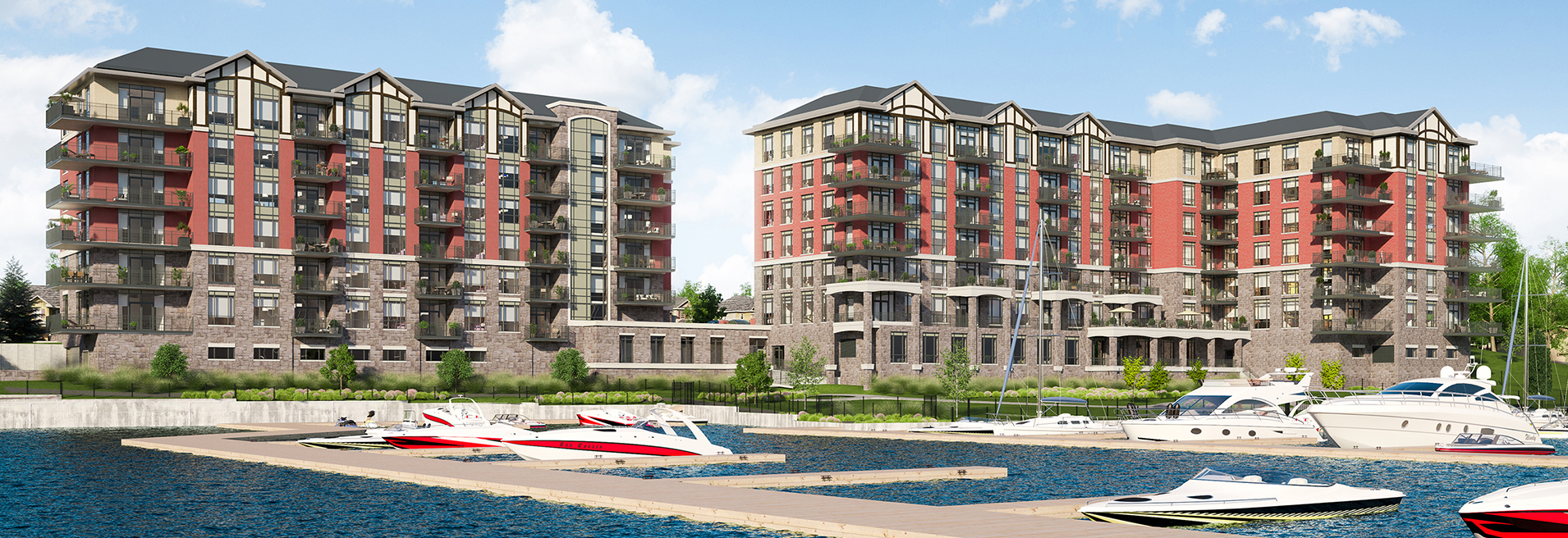 The exterior rendering of Stone & South Condos.